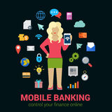 Mobile banking finance flat vector: woman tablet banking icons. Flat style online mobile banking finance control access concept. Young blond woman with tablet Royalty Free Stock Photography