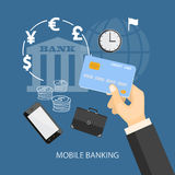 Mobile banking. Flat design modern vector illustration concept of mobile banking, business investment, internet banking with credit card in the hand. EPS 10 Royalty Free Stock Images