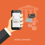 Mobile banking. Flat design modern vector illustration concept of mobile banking, business investment, internet banking with mobile phone in the hand. EPS 10 Royalty Free Stock Photography