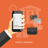 Mobile banking. Flat design modern vector illustration concept of mobile banking, business investment, internet banking with mobile phone in the hand. EPS 10 Royalty Free Stock Image