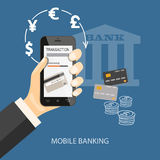 Mobile banking. Flat design modern vector illustration concept of mobile banking, business investment, internet banking with mobile phone in the hand. EPS 10 Stock Photos