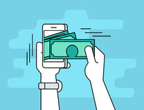Mobile banking flat line contour illustration of human hand  withdraws cash Stock Image