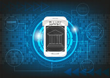 Mobile banking graphic technology background vector design. By EPS 10 Royalty Free Stock Photo