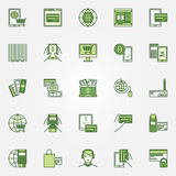 Mobile banking green icons. Vector online payment colorful symbols. Payment with credit card signs or logo elements Stock Photos