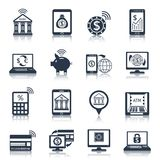 Mobile banking icons black Stock Images