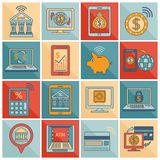 Mobile banking icons flat line. Mobile banking flat line icons set with digital signature online finance services digital transfers isolated vector illustration Royalty Free Stock Photo