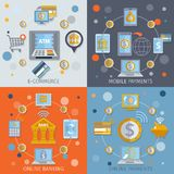 Mobile banking icons flat. Mobile banking flat line icons set with e-commerce online payments elements isolated vector illustration Stock Photo