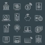 Mobile banking icons outline Royalty Free Stock Photos