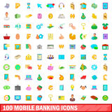 100 mobile banking icons set, cartoon style Royalty Free Stock Image
