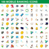 100 mobile banking icons set, cartoon style. 100 mobile banking icons set in cartoon style for any design vector illustration Royalty Free Stock Photos