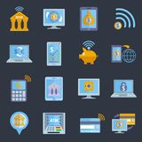 Mobile banking icons Stock Photos
