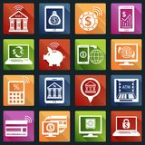 Mobile banking icons white Stock Photos