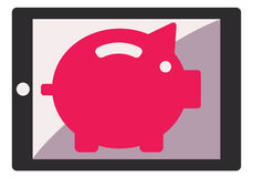 Mobile banking illustration with pig and mobile phone. Royalty Free Stock Photos