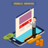 Mobile Banking. Isometric Concept. Online Payment. Mobile Payment. Money Transaction. Online Banking. Security Deposit. Finance Investment. Internet Banking Stock Image