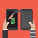 Mobile Banking Money Stealing. Vector Illustration Stock Photos