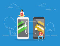 Mobile banking and money transfering concept illustration Royalty Free Stock Images
