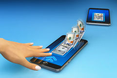 Mobile banking online payment, wireless money transfer and e-wallet concept Stock Photos
