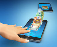 Mobile banking online payment, wireless money transfer and e-wallet concept Stock Image