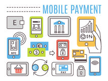 Mobile banking, online payments. Thin line flat Stock Images