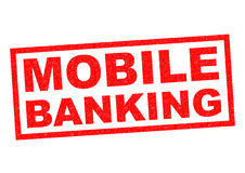 MOBILE BANKING. Red Rubber Stamp over a white background Royalty Free Stock Images