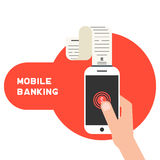Mobile banking with smart phone and paycheck Stock Photo