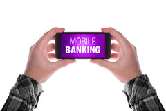 Mobile Banking. Smartphone in female hand with mobile banking application isolated on white background Stock Photography