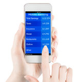 Mobile banking in smartphone. Womans hand holding smartphone with mobile banking information on a screen stock photography