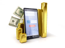 Mobile banking tracking dollars exchange rates. Isolated on a white background Royalty Free Stock Images