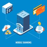 Mobile banking vector flat 3d isometric illustration Royalty Free Stock Photography
