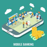 Mobile banking vector flat isometric illustration. Mobile banking vector flat 3d isometric illustration. Bank employees and customers on smartphone screen. Use Royalty Free Stock Photography