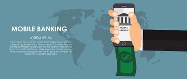 Mobile Banking Vector illustration. Flat computing Royalty Free Stock Photos