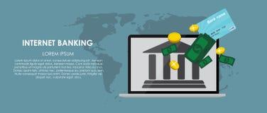 Mobile Banking Vector illustration. Flat computing Stock Photo