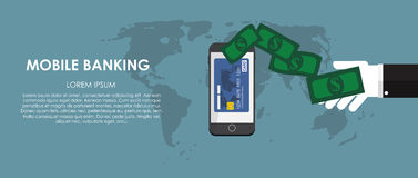 Mobile Banking Vector illustration. Flat computing Stock Image