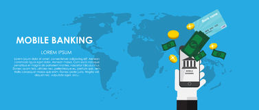 Mobile Banking Vector illustration. Flat computing Royalty Free Stock Images