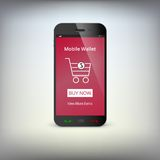 Mobile banking wallet on screen of smartphone Royalty Free Stock Photography