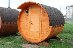 Mobile bath in the form of a barrel royalty free stock photos