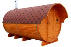 Mobile bath in the form of a wooden barrel royalty free stock images