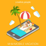 Mobile beach resort vacation app flat 3d isometric technology Royalty Free Stock Photography