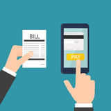 Mobile bill payment. Concept. Vector illustration stock illustration
