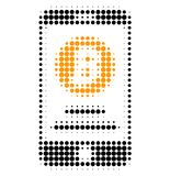 Mobile Bitcoin Account Halftone Dotted Icon vector illustration