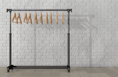 Mobile Black Coat Rack with Hangers. 3d Rendering Stock Images