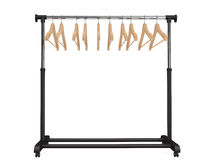 Mobile black coat rack with hangers Stock Images