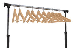 Mobile black coat rack with hangers Royalty Free Stock Photos