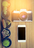 Mobile blank screen and camera on wood background with cactus. Royalty Free Stock Image