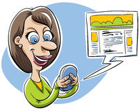 Mobile Blogger. A cartoon woman blogging on her mobile device Royalty Free Stock Photo