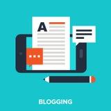 Mobile blogging. Abstract vector illustration of mobile blogging flat design concept Stock Image