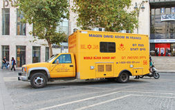 Mobile Blood Donor Unit. Parked on Ben Yehuda Street Stock Photos