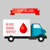 Mobile blood transfusion station vehicle. Medical and healthcare concept Royalty Free Stock Photo