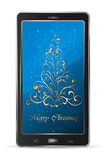Mobile with blue Christmas background Royalty Free Stock Image