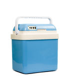 Mobile blue refrigerator. Isolated over white background Royalty Free Stock Photography